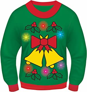 Adult Men's Bells and Holly Lights and Sound Ugly Christmas Sweater Costume