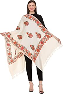 Kashmir Women Stole Scarf Wrap Shawl with Indian Embroidery Flower - 7228