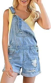 ACKKIA Women's Adjustable Straps Ripped Denim Overall Shorts Cuffed Hem Shortalls