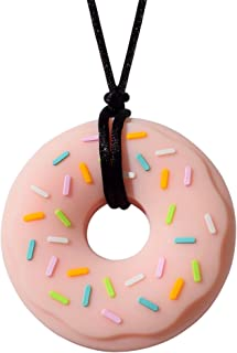 Munchables Donut Chewy Necklace - Sensory Chew Necklace for Boys and Girls (Pink Donut on Black Cord)