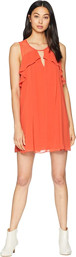 Front Cut Out Ruffle Dress
