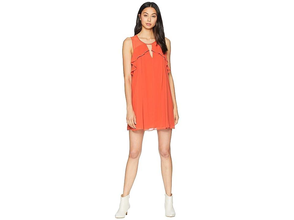 BCBGeneration Front Cut Out Ruffle Dress (Saffron) Women