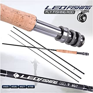Leo 9 Feet Fly Fishing Rod High Performance 4 Piece Solid Fast Action Convenience Travel Rods 4/5, 5/6, 6/7, 7/8 wt