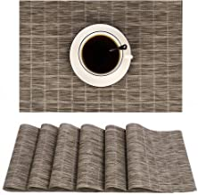 JTW PVC Farmhouse Placemats, Washable Dinner Table Mats Set of 6, Waterproof Heat Insulation & Stain Resistant,Great for Outdoor Catering Events, Dinner Parties,Daily Use (6, Plaid-Coffee)
