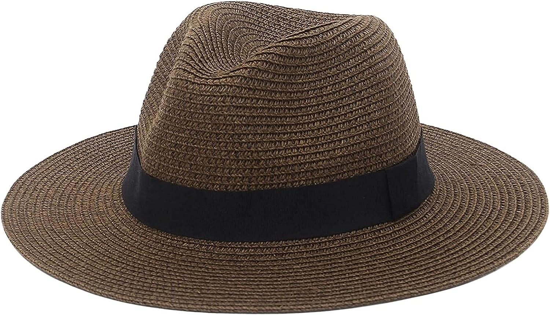 Youdert Men Womens Straw Fedora Hat Excellent f Wide Brim Panama Beach Popular product