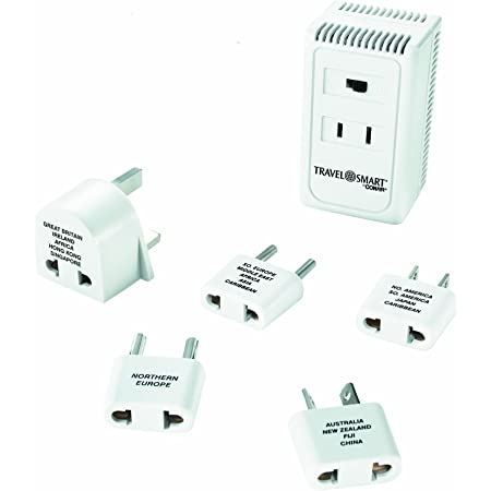 TRAVEL SMART by Conair Converter and Worldwide Adapter Set; US Europe UK Italy Spain China, white, 6 piece set (TS1875X)