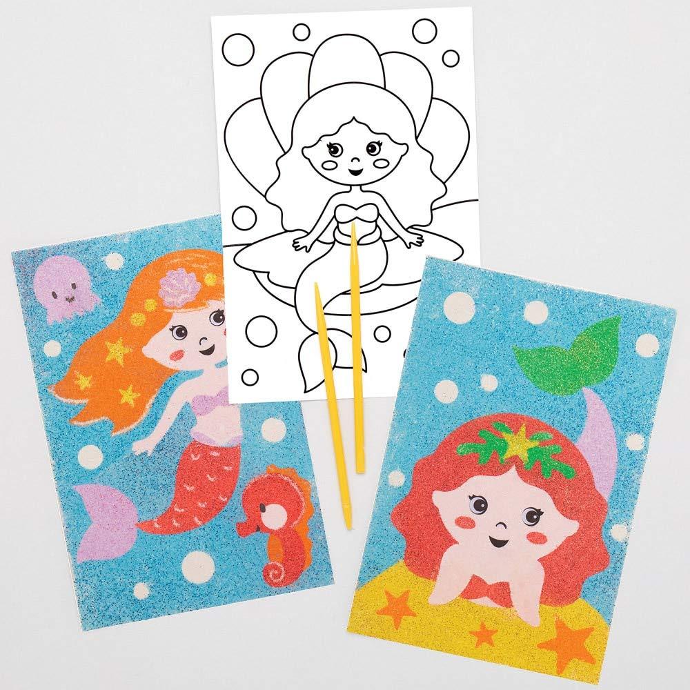 Baker Ross Imágenes de Sirenas Para Decorar con Arena AT688 (paquete de 8) para proyectos de arte y manualidades para niños, surtidos