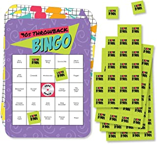 Big Dot of Happiness 90's Throwback - Bar Bingo Cards and Markers - 1990s Party Bingo Game - Set of 18