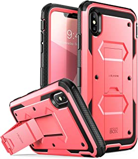 i-Blason Case for iPhone Xs Max 2018 Release, [Built in Screen Protector][Armorbox] Full Body Heavy Duty Protection Kickstand Shock Reduction Case, Pink, 6.5