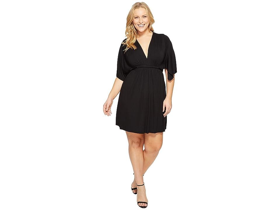 Rachel Pally Plus Size Mini Caftan Dress (Black) Women's Dress