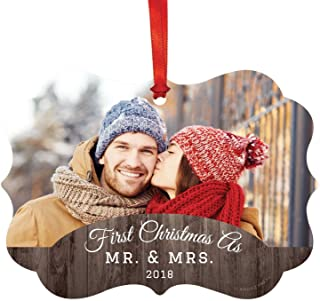 Andaz Press Photo Personalized Fancy Frame Christmas Keepsake Ornament, First Christmas as Mr. & Mrs, Rustic Wood, 1-Pack, Custom with Picture, Includes Ribbon and Gift Bag