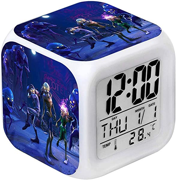 BOLLAER Child Game Alarm Clock 7 Colors LED Night Light Kids Digital Alarm Clock With Snooze Function LCD Screen Displays Time Date Best Gift For Children Birthday Christmas Or Game Lovers 23