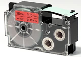 Casio XR-18RD1Black on Red Label Tape–Black on Red Label Tape (8M, Black Box, 1.8cm)