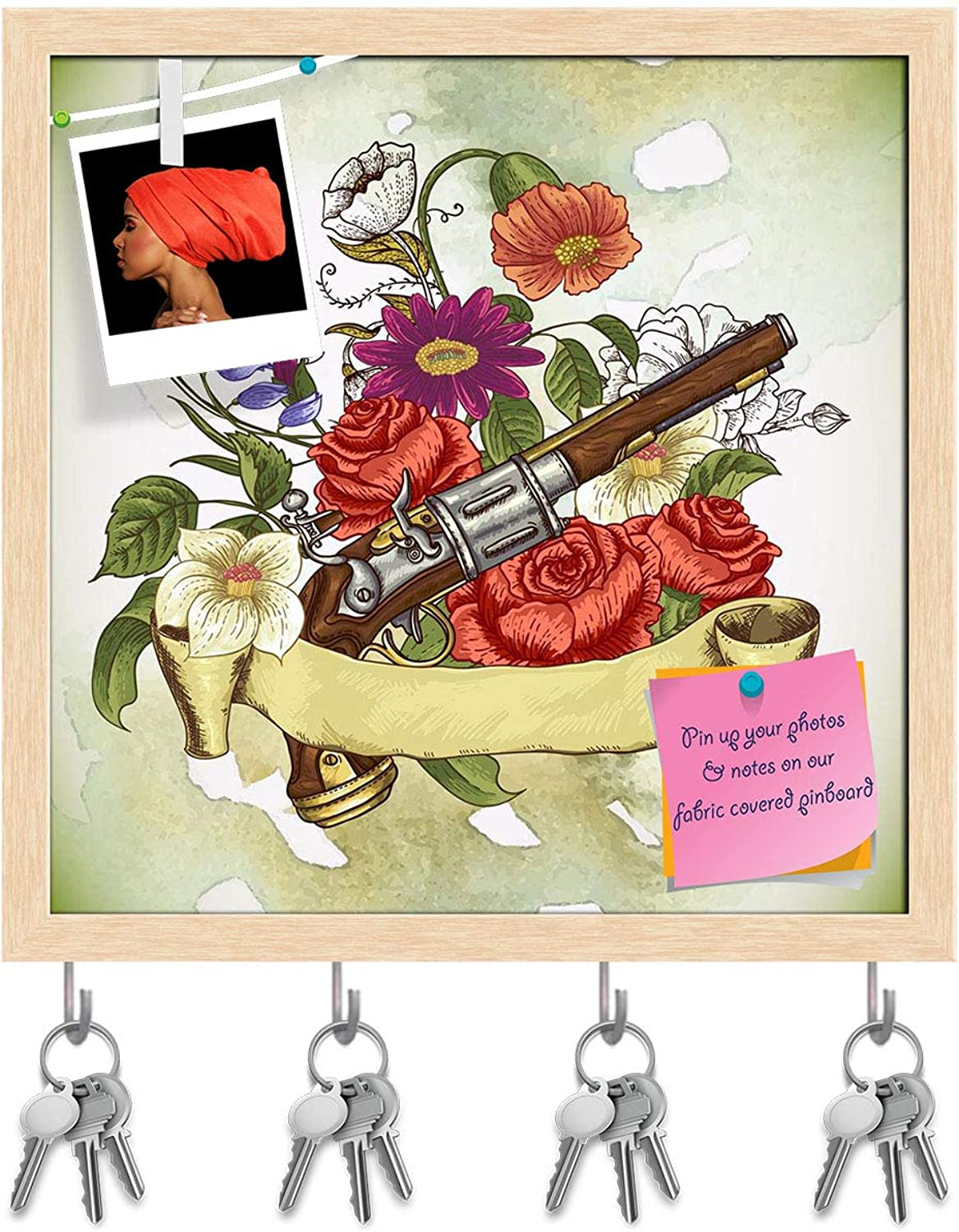 Artzfolio Gun & Flowers D2 Key Holder Hooks   Notice Pin Board   Natural Brown Frame 20 X 20Inch