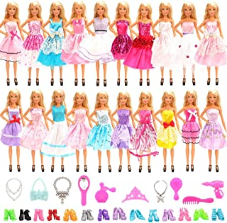 Barwa 30 Accessories for 11.5 Inch 30 cm Dolls: 10 Party Dresses + 10 PCS Shoes + 10 Accessories