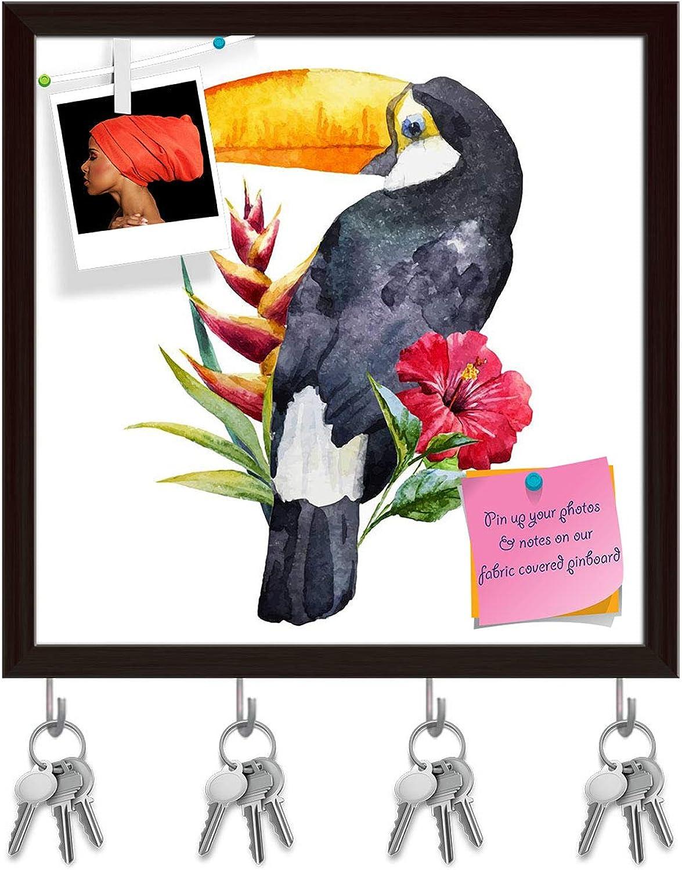 Artzfolio Beautiful Toucan with Flowers Key Holder Hooks   Notice Pin Board   Dark Brown Frame 20 X 20Inch