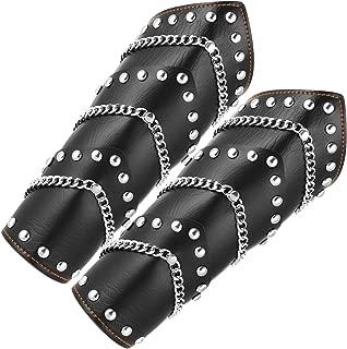HZMAN Faux Leather Metal Link Gauntlet Wristband Wide Bracer Arm Armor Cuff/Leg Guards Leggings Calf Armor