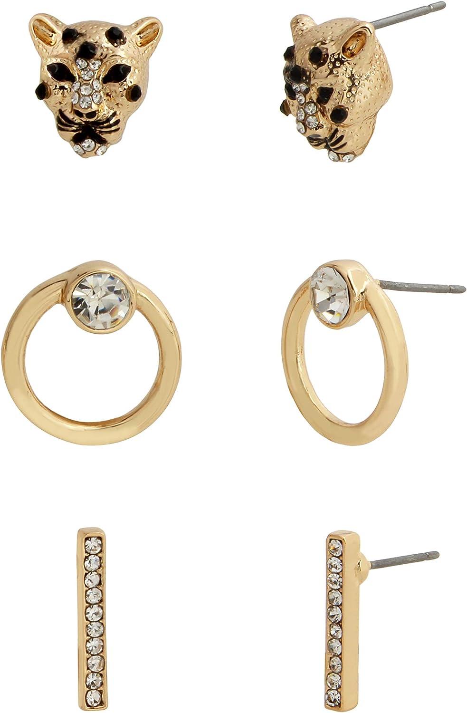 Cheetah Trio Stud Earrings Set
