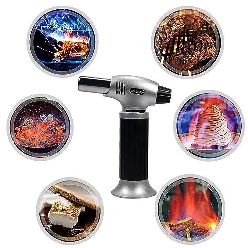 Splink Chalumeau de Cuisine Professionnel Torche de Brûlure Rechargeable Briquet Gaz Chalumeau pour Creme Brulee BBQ Soudage Brasage Cuisson