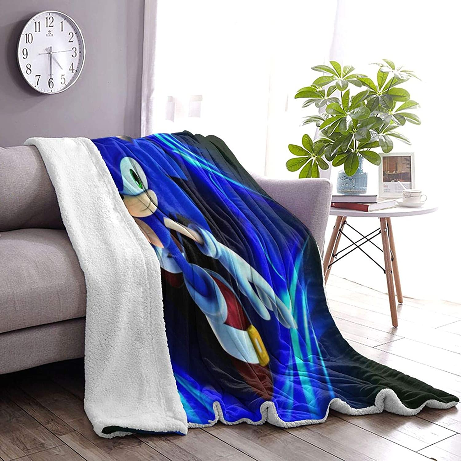So-nic-The Hedgehog Warm Soft Blanket in Winter Lambswool Blanket Thickened Double Layer Double-Sided Throw Blanket for Kids Adults Gift Sofa Chair Bed Office 50 x40