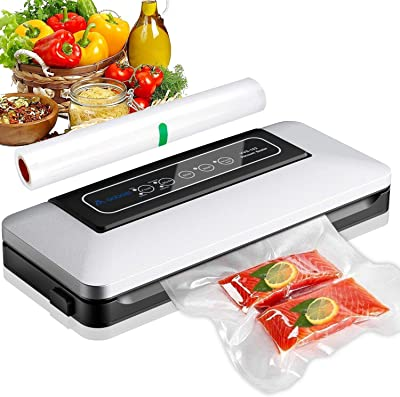 Aobosi Envasadora al Vacío 5 en 1, Máquina Selladora de Vacío para Alimentos Secos y Húmedos Preservación, Sistema de Sellado Automático por Vacío, Luces indicadoras LED, con rollo de bolsa sellada