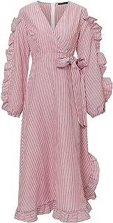 Simple Casual Striped V Neck Women Dress Spring Ruffle Long Sleeve Bow tie Long Dress