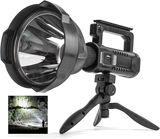Rechargeable Spotlight Flashlight High Lumens, 90000 Lumen LED Super Bright Searchlight, 4...