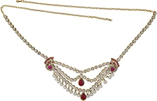 Memoir Gold Plated Brass, Antique Finish, 4 Strand, Kundan, Meena and Colourful Pink Crystals Traditional Kamarbandh Wome...