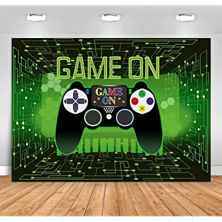 Video Game On Backdrop for Gaming Themed Birthday Party Happy Birthday Background 7x5ft Photo Booth Banner for Cake Table Supplies ZYVV0699