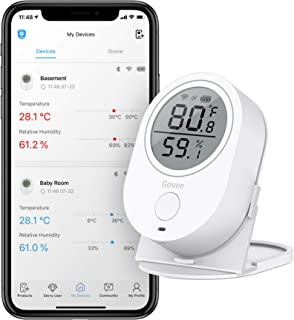 Humidity Temperature Smart Sensor with Alert for Home Wireless Indoor Thermometer Hygrometer Humidity Gauge House Refrigerator and Wine Garage Cabin Govee Bluetooth Temperature Humidity Monitor