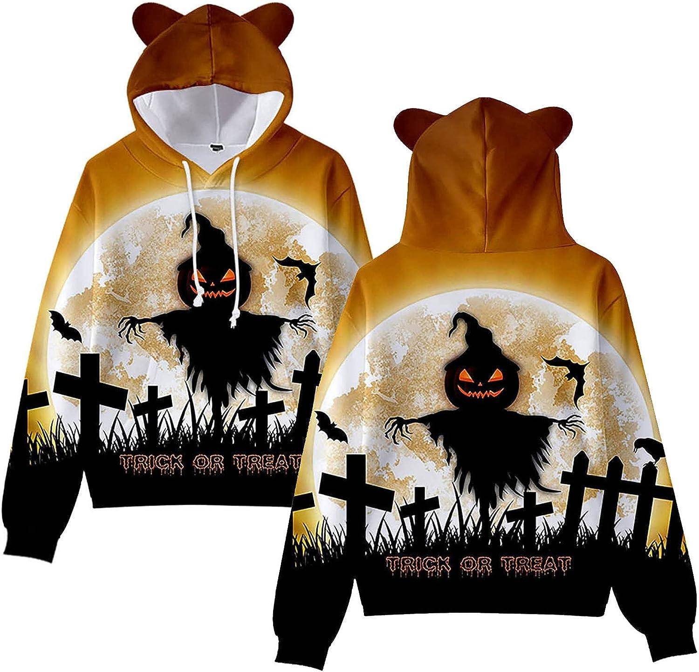 Halloween Womens Cat Ear Weater Pullover Round Neck Long Sleeve Blouse Pumpkin Graphic Print Sweatshirts Tops