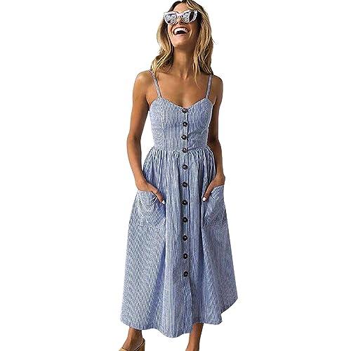 7099929f138a Poptem Women's Midi Dresses V-Neck Bohemian Floral Spaghetti Strap Summer  Beach Sundresses
