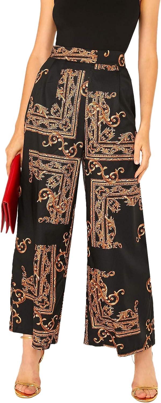Romwe Women's Casual Loose Wide Leg Pants High Waist Pull On Dress Pant