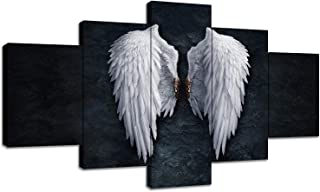 Urttiiyy Angel Wings Wall Art Canvas Prints Angel Feather Ground Wings Decor Paintings on The Wall Picture 5 Panels Posters for Living Room Framed Ready to Hang