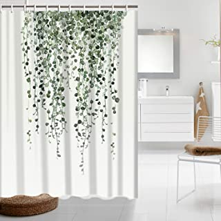 Maccyafst Shower Curtain Green Eucalyptus Leaves Bathroom Curtain Watercolor Plants Floral Shower Curtain Waterproof Bathroom Decor Fabric Shower Curtain Set with Hooks