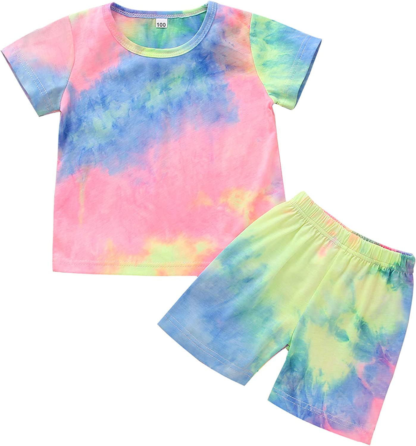 Baby Boy Girl Solid Color Outfit Unisex Kids Short Sleeve Top with Shorts 2 Pieces Summer Clothes Set