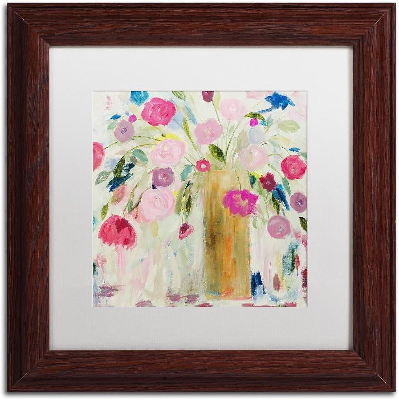Trademark Fine Art Friendship Blooms by Carrie Schmitt, White Matte, Wood Frame, 11  X 11
