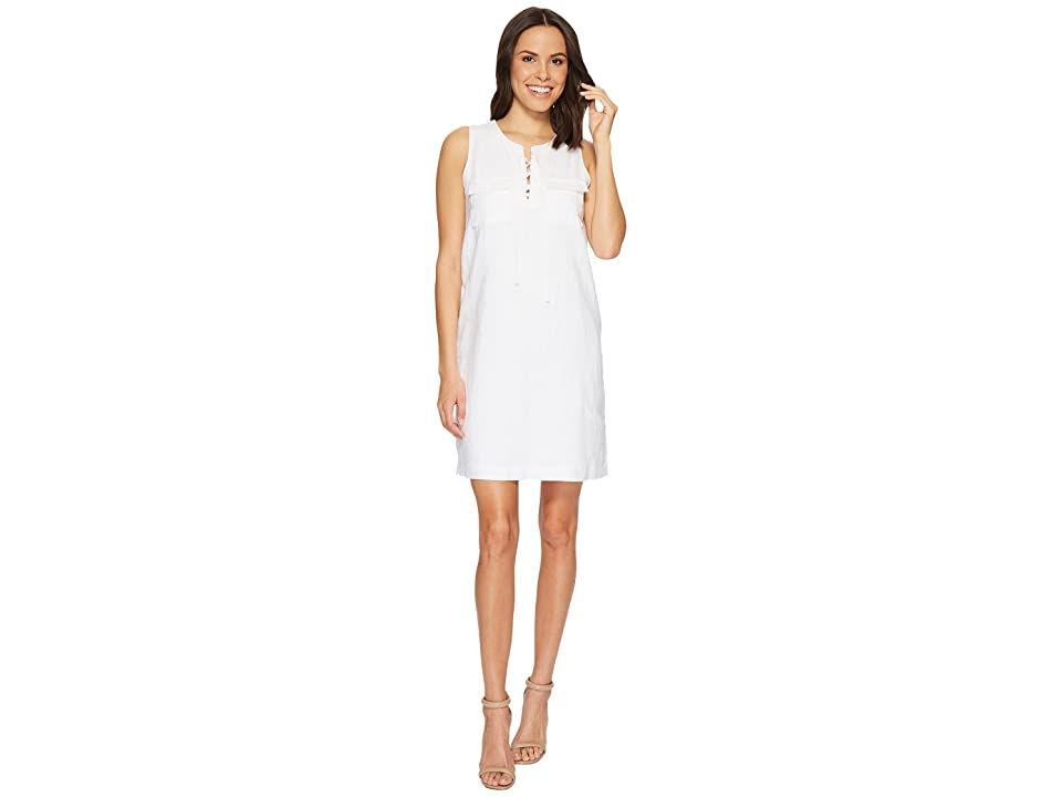 TWO by Vince Camuto Sleeveless Lace-Up Two-Pocket Dress (Ultra White) Women