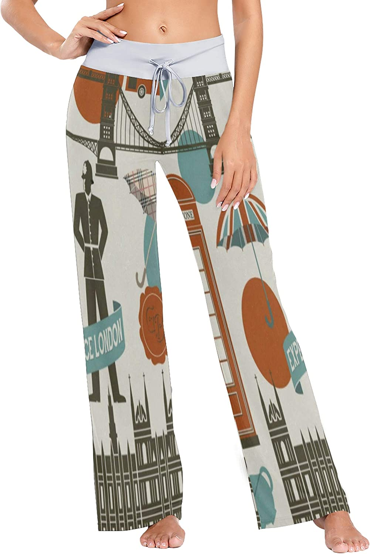 Womens Pajama Lounge Pants London Symbols and Landmarks Wide Leg Casual Palazzo Pj Sleep Pants Girls