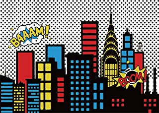 AOFOTO 7x5ft Cartoon Super City Backdrop Boy Birthday Banner Urban Night Cityscape Bomb Downtown Buildings Photography Background Bang Boom Skyscraper Kid Newborn Portrait Photo Studio Props Vinyl