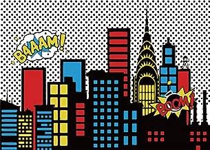AOFOTO 7x5ft Cartoon Super City Backdrop Boy Birthday Banner Urban Night Cityscape Bomb Downtown Buildings Photography Background Bang Boom Skyscraper Kid Newborn Portrait Photo Studio Props Vinyl