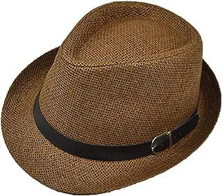 Elonglin Panama Summer Fedora Trilby Straw Sun Hats For Men Women Safari Beach Hat Classic
