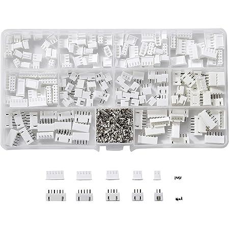 Litorange JST-XHコネクタ キット 基板用 ベース付ポスト ハウジング コンタクト 2p 3p 4p 5p 6pin 2.54mmピッチ端子ング プラグ アダプタ メス オス 合計500個