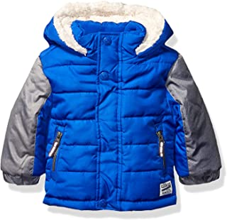 Osh Kosh Baby Boys Heavyweight Winter Jacket W/Sherpa Lining, Dark Grey Heather/Very Black, 24Mo