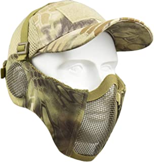 Jadedragon Airsoft mask, Foldable Tactical Half Face Lower Mask with Mesh Ear Protector