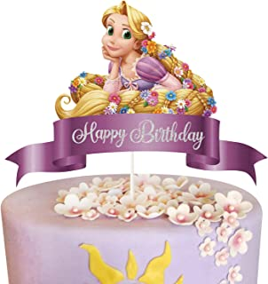 LYNHEVA Glitter Rapunzel Happy Birthday Cake Topper, Tangled Theme Birthday Party Suppliers, Disney Princess Inspired Girl...