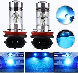 HOCOLO H8 H9 H11 100W LED Fog Light Lamp Bulbs Fog Driving Lights 8000K Ice Blue High Power LED Bulbs Car Vehicle Lighting Accessories (Set of 2) (H8/H11/H9-100W, Light Blue)