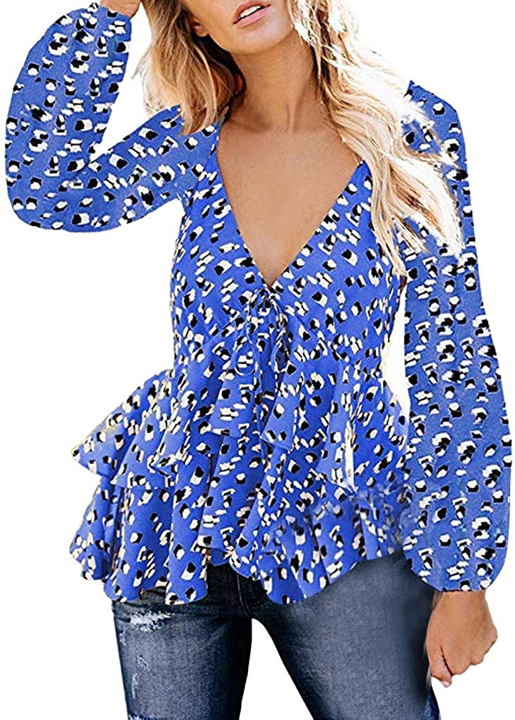 Loose Casual Long Sleeve Plus Size Round Neck Printed T Shirts Blouse Mebamook Women Tops