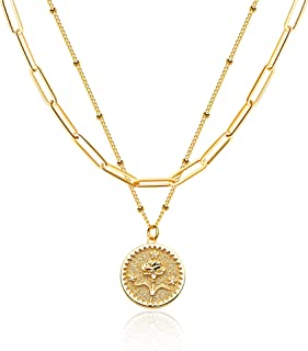 Sponsored Ad - Valloey Rover Gold Layered Coin Necklace for Women Birth Flower Necklace 14K Gold Plated Dainty Carved Flor...