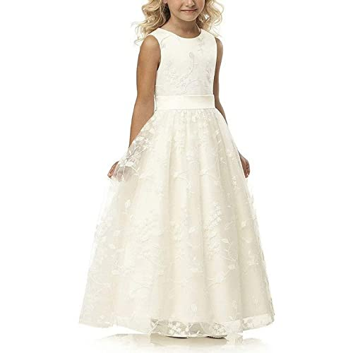 8693bcfa149 A line Wedding Pageant Lace Flower Girl Dress with Belt 2-12 Year Old
